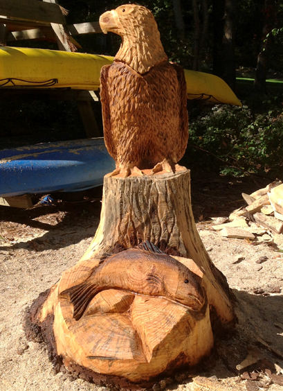 Ross macvicar chainsaw artist carvings of birds